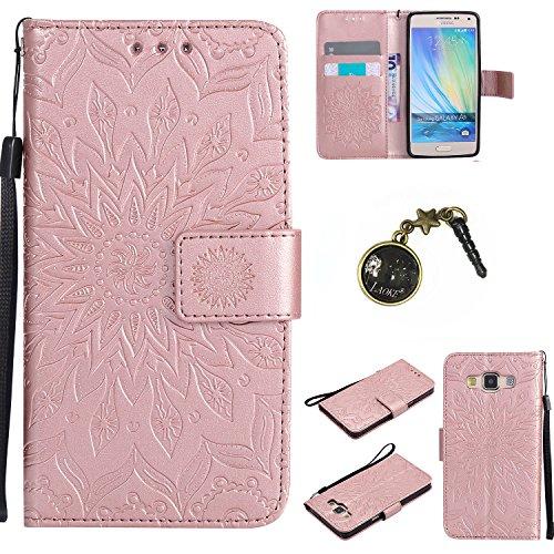 für Smartphone Samsung Galaxy A5 (2015) Hülle,Echt Leder Tasche für Samsung Galaxy A5 (2015) Flip Cover Handyhülle Bookstyle mit Magnet Kartenfächer Standfunktion + Staubstecker (5)