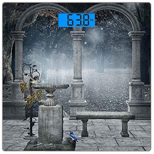 Präzisions-Digital-Personenwaage Gothic Ultra Slim-Personenwaage aus gehärtetem Glas Genaue Gewichtsmessungen, fiktives Mythic Stone Bench-Balkongebäude aus Mittelalter mit Kolibri-Grafik -