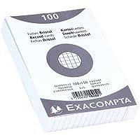 EXACOMPTA 10202E Paquet 100 fiches sous film - bristol quadrillé 5x5 non perforé - 100x150mm Blanc
