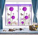 EQEQ Fenster Selbstklebende Verrechnung mit Klettverschluss Mesh Mesh Vorhang Vorhang Haken Klebeband Moskitonetz Anti-bug-E120 x 150 cm (47 x 59 Zoll)