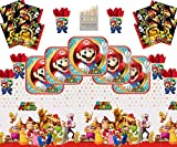 Mario Party Supplies Pack de vaisselle pour le joyeux anniversaire de Super Mario Bros Brothers 16 kit- Nappe De Serviette Mario Plate Cup