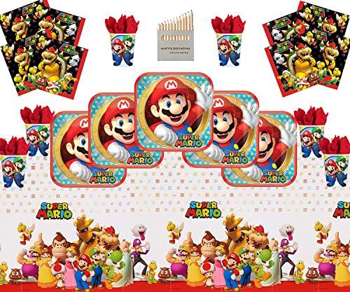 Mario Party Supplies Super Mario Bros Brüder Happy Birthday Geschirr Packung für 16- Einweg Mario Plate Cup Serviette Tischtuch (Super Bleistifte Mario)