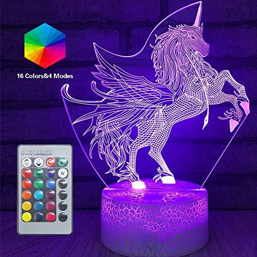 3D Einhorn Lampe LED Optische Täuschung Lampen Licht mit Smart Touch Fernbedienung 16 RGB-Farben Bday Xmas Party Geschenke für Mädchen Kinder Wohnkultur Schreibtisch Dekorationen (Unicorn-5)