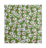 Grün Kirschen und Blumen Print FQ Baumwolle