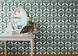 ''Art Deco Papier peint papier-Noir/Rouge/Vert-Vintage Rétro Original by Papier peint de Peter-Fabriqué en Allemagne, vert