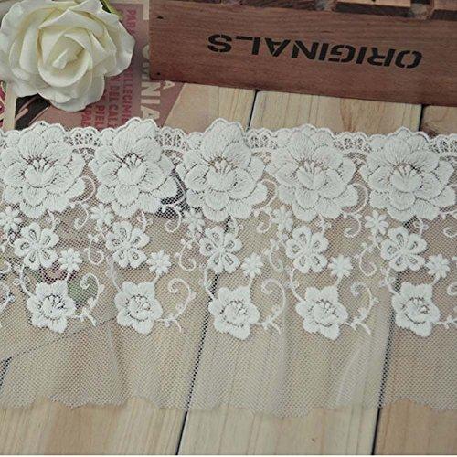 Weiß 5Meter 51/20,3cm Rosy Stickerei Spitze Stoff Scrapbooking Kostüme ()