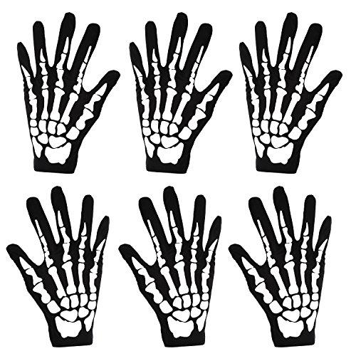 3 Paare Neue Halloween Schwarz Weiß Skeleton Handschuhe Schädel Fancy Dress Zubehör Geist Skelett für Erwachsene Halloween Tanzen Party Kostüm Handschuhe (Halloween Kostüm Skelett Muster)