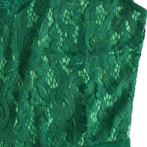Robe de Soirée Sans Manches Robe Dentelle Vintage Sexy en Mousseline de Soie Col V Robe de Cocktail Longue Robe Patineuse Élégante Dark Green