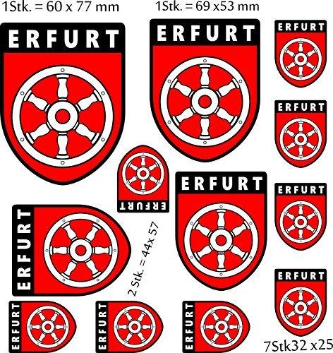 Aufkleber WappenSet Europa Erfurt Thüringen