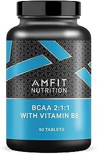 Marchio Amazon - Amfit Nutrition, Aminoacidi ramificati BCAA 2:1:1 con B6, 90 compresse