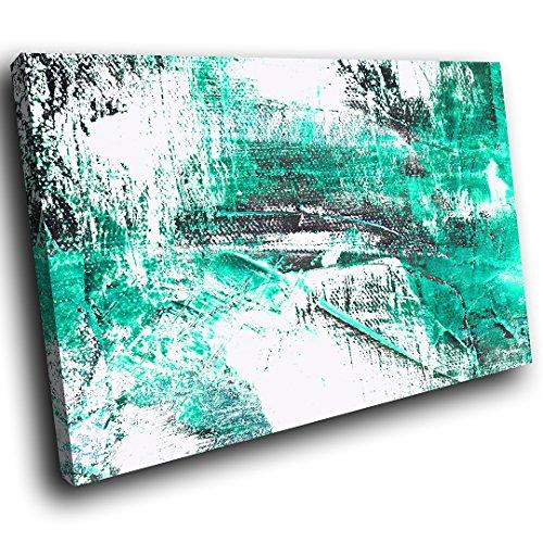 AB975C gerahmte Leinwanddruck Bunter Wand-Kunst - Teal Weiß Grau Cool - modernes abstraktes Wohnzimmer Schlafzimmer Bild Stück Wohnkultur Interior Design Einfach Hang Guide - Teal Grau-wand-kunst