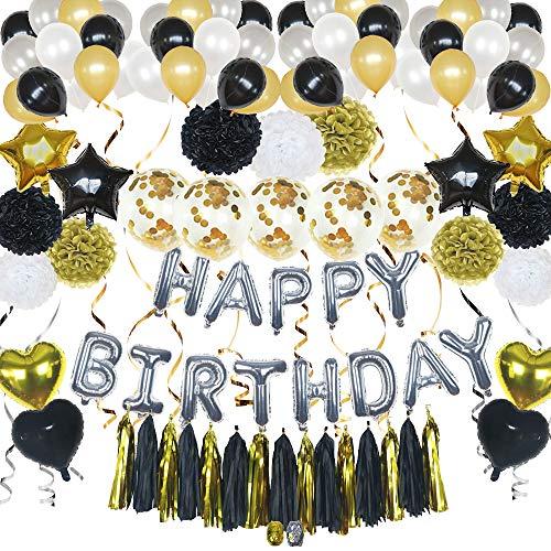 ko Set für Party Kindergeburtstag in schwarz gold silber: Happy Birthday Girlande, Sterne & Herz Folienballons, Latex Luftballons, Konfetti Ballons, Pompoms & Tassel Girlande ()