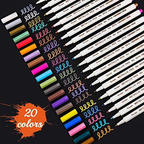 Huttoly Metallic Marker Stifte Set, 20 Farben Premium Metallischen Stift Pens für Kartenherstellung DIY Fotoalbum Gästebuch Hochzeit Papier Glas Kunststoff Stein - Feiner Spitze(1MM)