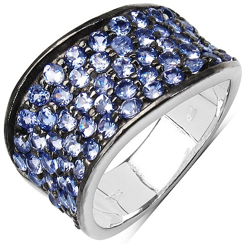 JOHAREEZ 2.14CTW Genuine Tanzanite .925 Sterling Silver Cluster Ring