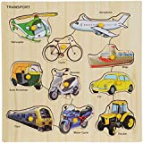 BabyGo Wooden Transport Identification Teaching Tray with Knobs (30cm x 30cm) (Multi Color)