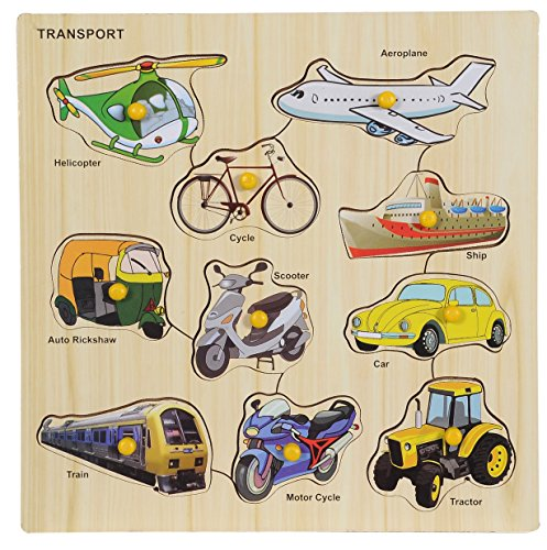 BabyGo Wooden Transport Identification Teaching Tray with Knobs (30cm x 30cm) (Multi...