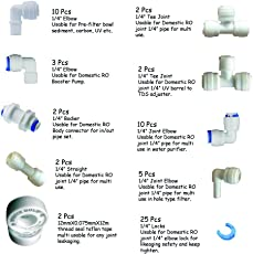 AVIPURE Plastic Water Purifier Complete Connector Type Item Elbow, Tee, Locks and Taflone Tape - Set Of 10