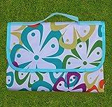 Brinny Picknickdecke 200 x 200 cm Stranddecke Wasserdichte sanddichte Picknickdecken Campingdecken Strandmatte Outdoor Badedecke mit Tragegriff - Mehrfarbige Blume