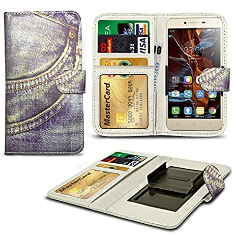 N4U Online® - Denim Jeans Patterned Clip On Series PU Leather Wallet Book Case For XOLO Q1000s plus