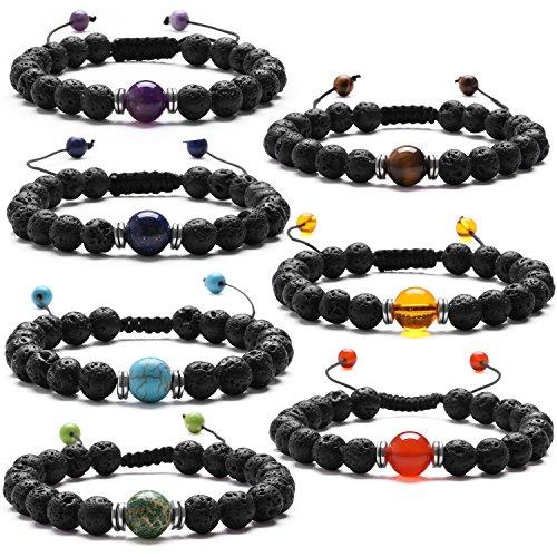 Bracciale elastico j.fée 7 chakra pietre laviche e pietre preziose yoga bracciale chakra regolabile bracciale perline 7 pezzi confezione regali di compleanno di festa del papà per le donna uomo