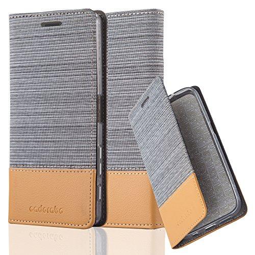 Cadorabo Hülle für Sony Xperia X Performance - Hülle in HELL GRAU BRAUN – Handyhülle mit Standfunktion und Kartenfach im Stoff Design - Case Cover Schutzhülle Etui Tasche Book