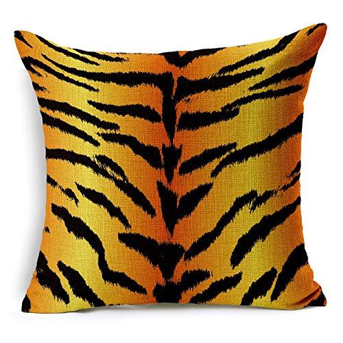 Coolsummer Zebra, Leopardo, Tigre, Giraffa, animale Texture Pattern Custodia per cuscino spessa quadrata in lino e cotone Overlock Cuscino decorativo, 45x 45cm (45,7x 45,7cm), UKSH011A4, 18 X18