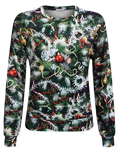 *Parabler Damen Sweatshirt Langarmshirt Weihnachtspullover Rundhals Pulli Strickpullover mit Drucken*