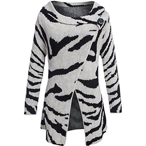 Damen Longstrickjacke mit Mohair und Wolle Strickmantel im Zebra Muster XS S M (One Size, Ecru/Schwarz)