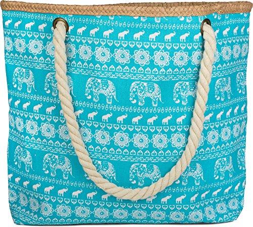 styleBREAKER borsone da spiaggia con design etnico con elefanti e chiusura con cerniera, borsa a tracolla, borsa per shopping, donna 02012063, colore:Türkis Türkis