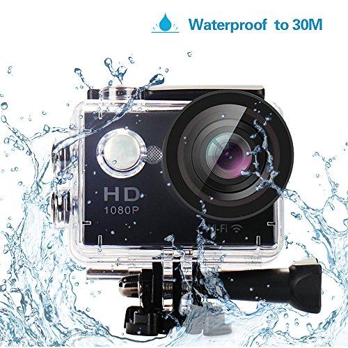 YUNTAB Original W9 Action Kamera Wasserdicht Action Cam WIFI 12 MP Ultra HD Action Camera Sport Kamera Wifi 1080p Video H264 170° Objektiv HDMI TV Mit Kostenlose Accessoires Schwarz