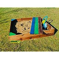 Arenero para niños con cajon-banco, medida 1,50 x 1,50 mts., fabricado en madera cuadrada muy resistente, marca MASGAMES