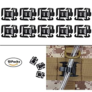 61pl n1c lL. SS300  - Tactical Military Hydration Tube Clips Water Tube Clip MOLLE Webbing Attachment 360°Rotatable, Multi-Function Tool by ZENDY (Pack of 10)
