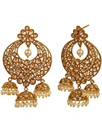 MUCH MORE Traditional Style Gold Plated Polki Earrings For Womens & Girls Jewelry
