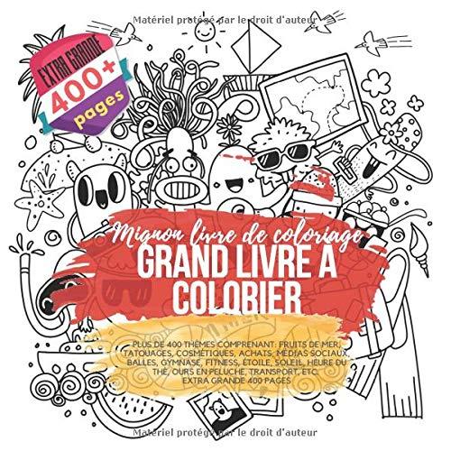 Grand Livre à Colorier Mignon Livre De Coloriage Plus De 400 Thèmes Comprenant Fruits De Mer Tatouages Cosmétiques Achats Médias Sociaux