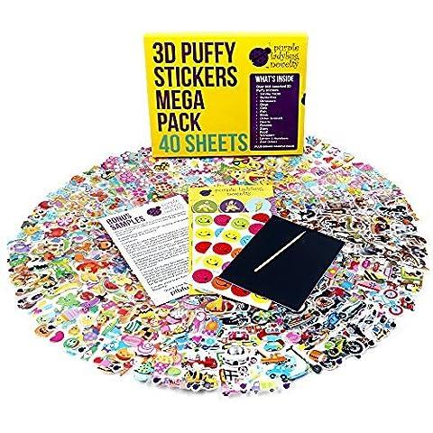 40 verschiedene Sticker Bogen für Kinder & Babies Stickeralbum im Kinderzimmer & an der Wand von Purple Ladybug Novelty, mehr als 950 3D Sticker: Tiere, Smileys, Autos, Buchstaben, Sterne und
