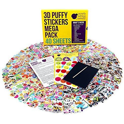 kerbögen für Kinder & Babys, Sticker für Mädchen, Jungen und Babys, Stickeralbum für das Kinderzimmer & für die Wand von Purple Ladybug Novelty, zum Basten und Kleben für Mädchen, mehr als 950 3D Sticker: Tiere, Smileys, Autos, Buchstaben, Sterne und mehr (Halloween Basteln Kann)