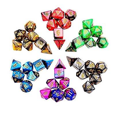 iFergoo 42 Dés Jeux De Role Donjons et Dragons D&D Dice, Double-couleur Polyédrique Jeu de Dés