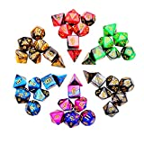 iFergoo 42 Stück Polyedrische Würfel Doppel-Farben Polyedrischen Spielwürfel für RPG Dungeons und Dragons Pathfinder, 6 Set von d20, d12, 2 d10 (00-90 und 0-9), d8, d6 und d4