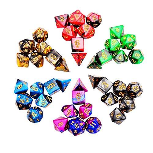 iFergoo 6 x 7 (42 Piezas) dados poliédricos, dos colores Polyhhedral dados de juego para mazmorras y dragones DND RPG MTG D20 D12 D10 D8 D6 D4 Juego de mesa