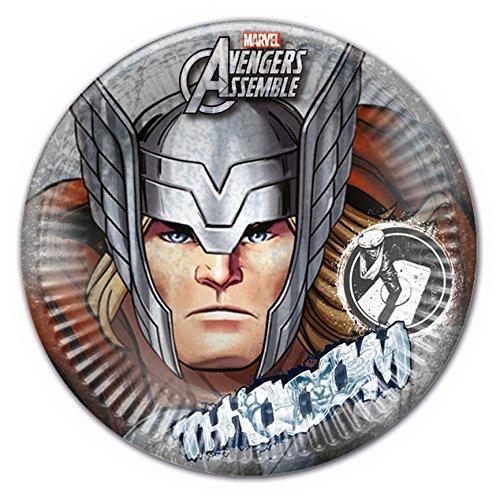 Procos 85382 - Piatti Carta Thor Marvel Avengers, Ø23 cm, 8 Pezzi, Grigio