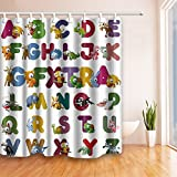 GoHEBE Cortinas de ducha decorativas para niños, diseño de letras del alfabeto con símbolos de animales, para niños, función educativa, cortinas de baño, 182,88 x 182,88 cm