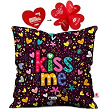 Indibni Valentine Day Gift Kiss Me Quote Scattered Randomize Pattern Of Love Symbols Purple Cushion Cover 16x16 inch - Gift for Boyfriend, Girlfriend, Birthday, Wife, Husband, Anniversary