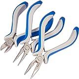 PandaHall 1 set 3-delige sieraden tangensets, ronde neus, zijsnijtang en draadschaar, blauw, 110-125x70mm