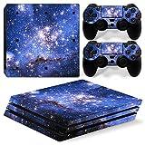 stillshine PS4Pro Vinyl Skin Decal selbstklebend Aufkleber für Playstation 4Pro Konsole & 2Dualshock Controller Set blau Starry Blue