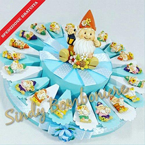 Torta bomboniere gnomo folletto bimbo magnete spedizione inclusa 1° compleanno nascita (torta da 35 fette)