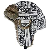 Pilotenmütze Wintermütze warm gefüttert - Fliegermütze mit Kunstfell für Damen und Herren - Mütze in Schwarz & Weiß mit Muster