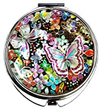 'Does your portable mirror match your style and personality?' Butterfly Mother of pearl makeup compact hand mirror: In Confucian Asian cultures arranged marriages were common. A butterfly was viewed as carefree and free to choose their mates. Butterf...