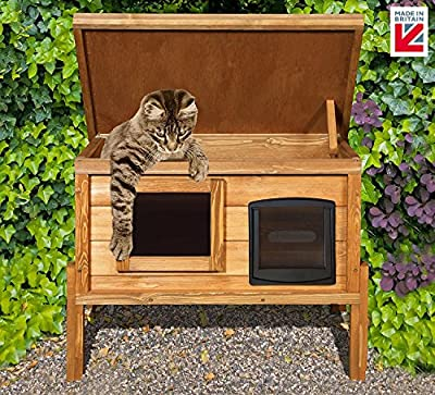 External Microchip Outdoor Cat House Kennel with One Way Privacy Window