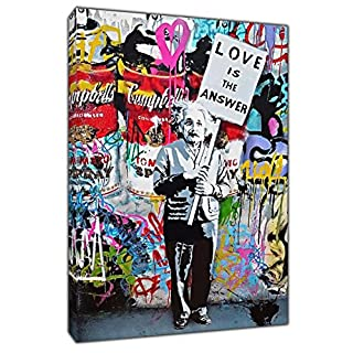 Banksy Love is The Answer Einstein Print ON Framed Canvas Wall Art Home Decoration 12''x 8''inch -18mm Depth