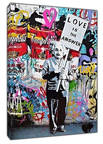 Banksy Love is the Answer Einstein Kunstdruck auf gerahmter Leinwand Wand Art Home Dekoration, 40'' x 30'' inch(102x 76 cm)-18mm depth (Einstein-bild)